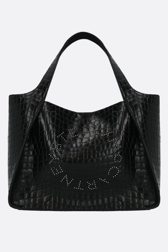 STELLA McCARTNEY: Stella Logo tote bag in crocodile-embossed Alter Nappa Color Black_1