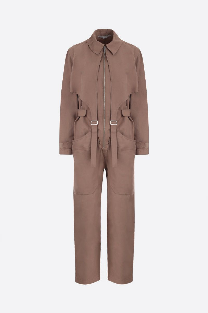 STELLA McCARTNEY: cotton linen blend jumpsuit Color Brown_1