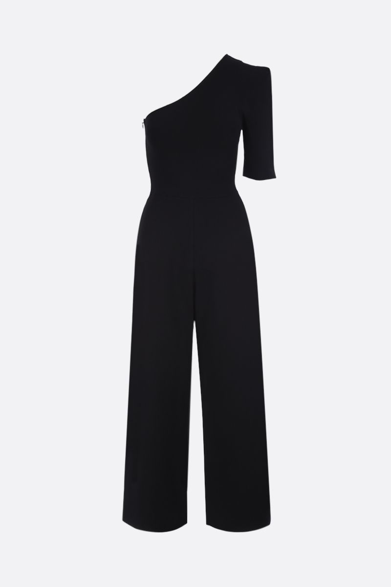 STELLA McCARTNEY: one-shoulder jumpsuit in stretch knit Color Black_1