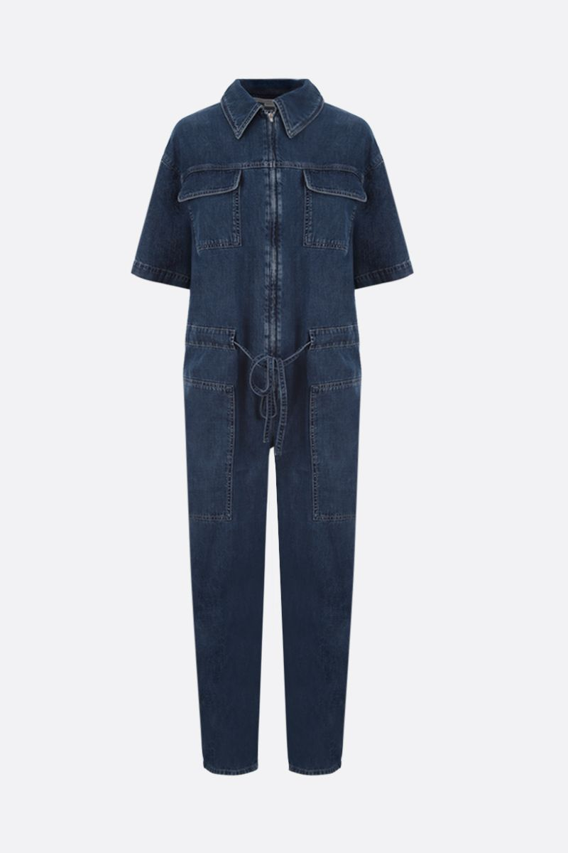 STELLA McCARTNEY: denim cropped jumpsuit Color Blue_1