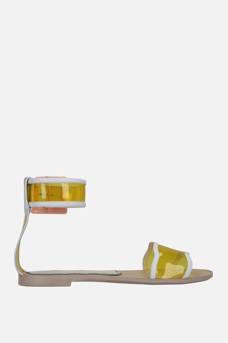 FRANCESCA BELLAVITA: Melody faux leather and PVC flat sandals Color Yellow_1