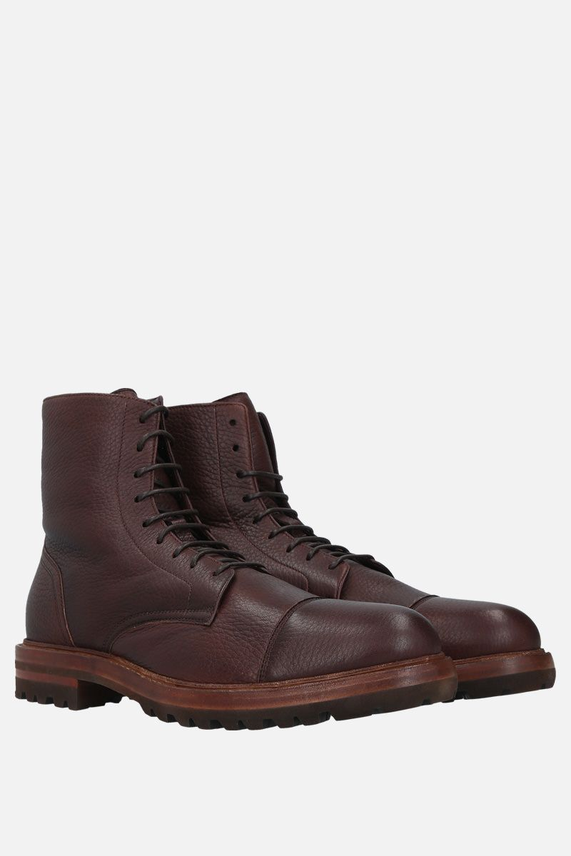 BRUNELLO CUCINELLI: grainy leather laced boots Color Brown_2