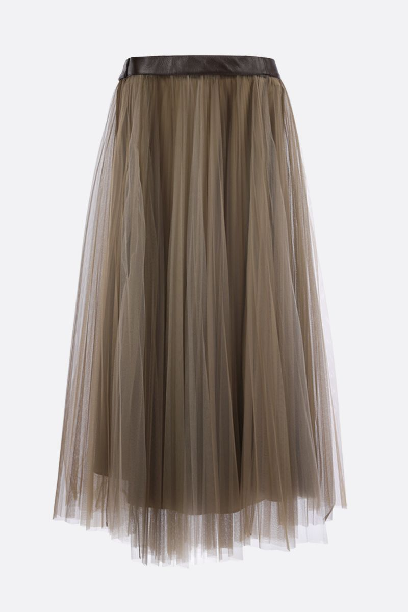 BRUNELLO CUCINELLI: belt-detailed tulle pleated skirt Color Neutral_2