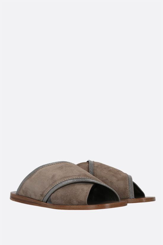 BRUNELLO CUCINELLI: monili-detailed suede flat sandals Color Grey_2