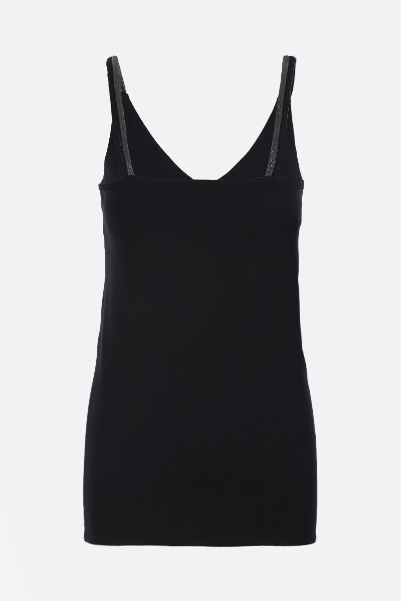 BRUNELLO CUCINELLI: stretch jersey top with monili detailing Color Black_2