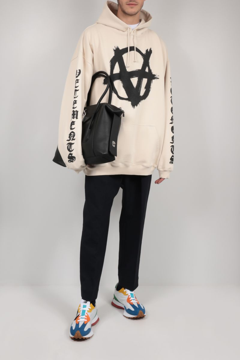 VETEMENTS: Double Anarchy jersey oversize hoodie Color Grey_2