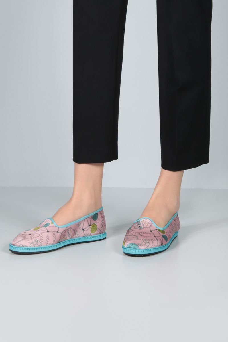 EMILIO PUCCI: seashell print twill ballerinas Color Blue_2