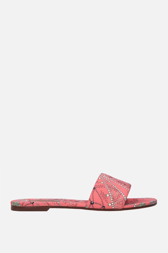 EMILIO PUCCI: seashell print twill slide sandals Color Red_1