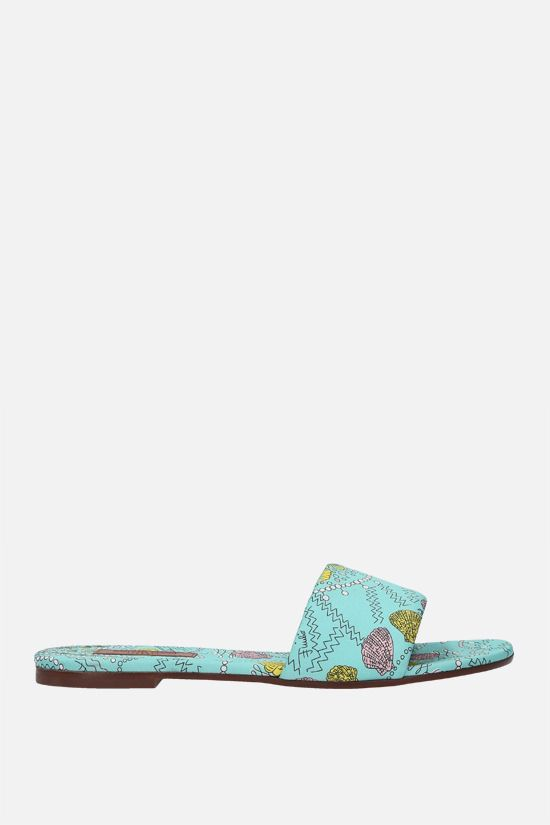 EMILIO PUCCI: seashell print twill slide sandals Color Blue_1