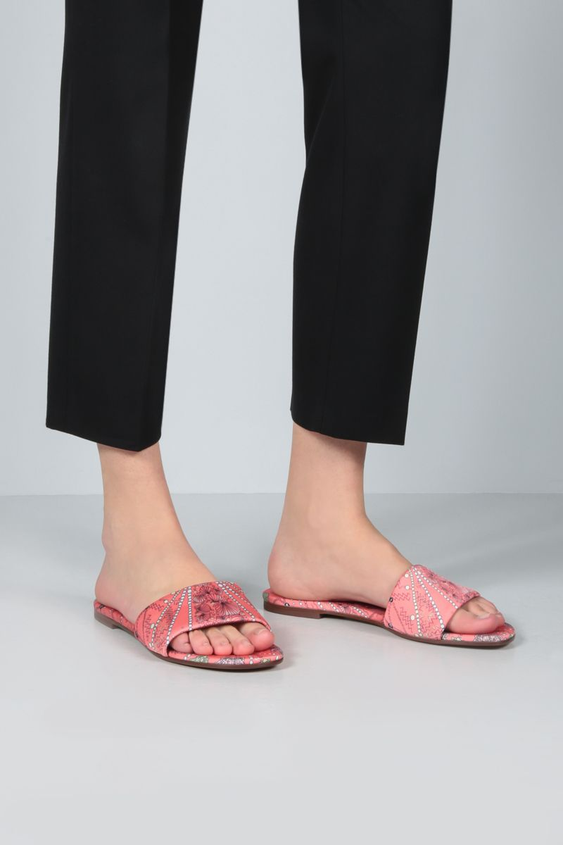 EMILIO PUCCI: seashell print twill slide sandals Color Red_2