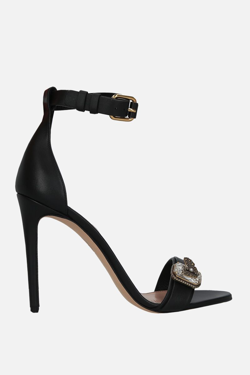 ALEXANDER McQUEEN: jewel-detailed smooth leather sandals Color Black_1