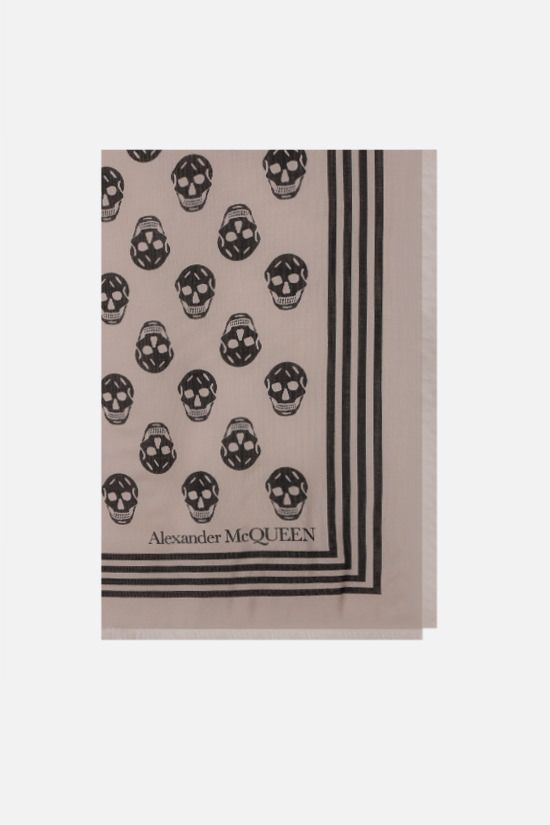 ALEXANDER McQUEEN: Biker Skull modal scarf Color Orange_1