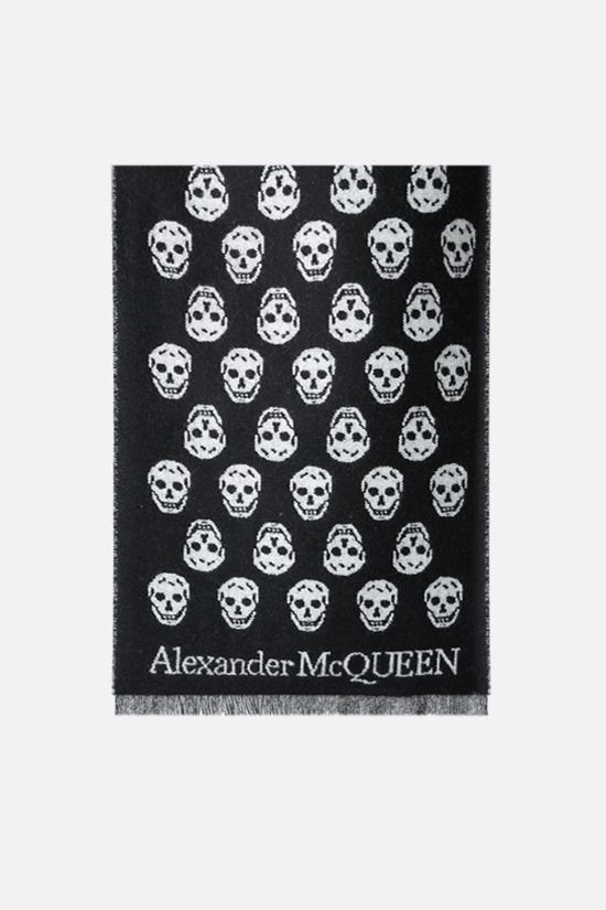 ALEXANDER McQUEEN: Skull reversible wool scarf Color Black_1