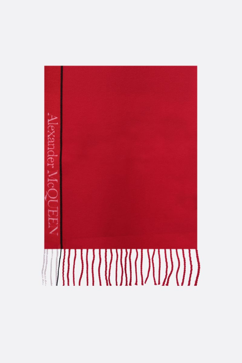 ALEXANDER McQUEEN: jacquard logo-detailed wool cashmere scarf Color Red_1