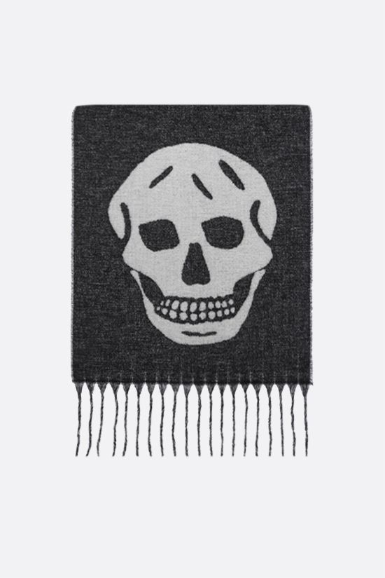 ALEXANDER McQUEEN: Blown Up Skull wool blend scarf Color Black_1