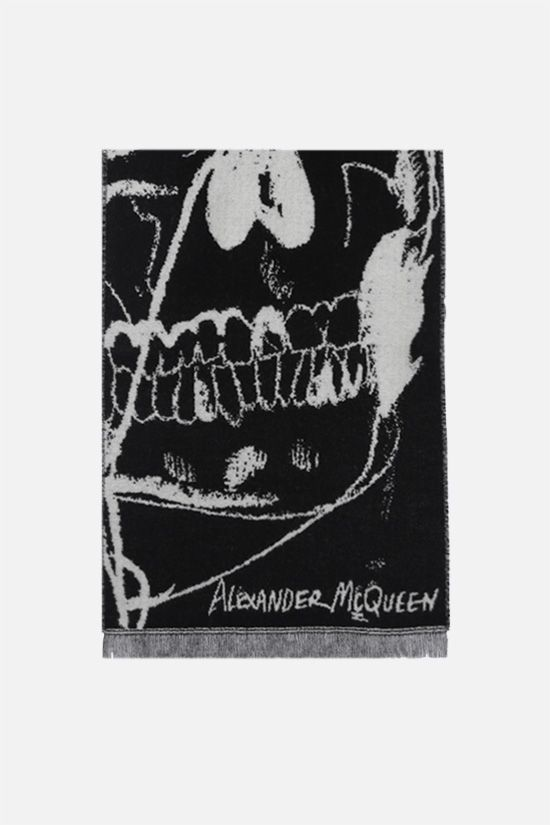 ALEXANDER McQUEEN: Exploded Drawn Skull wool scarf Color Black_1
