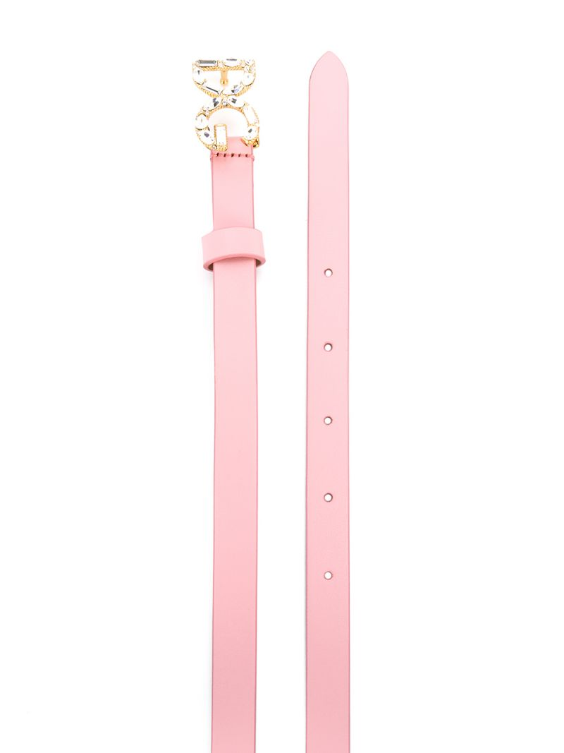 DOLCE & GABBANA CHILDREN: DG buckle-detailed smooth leather belt Color Pink_2