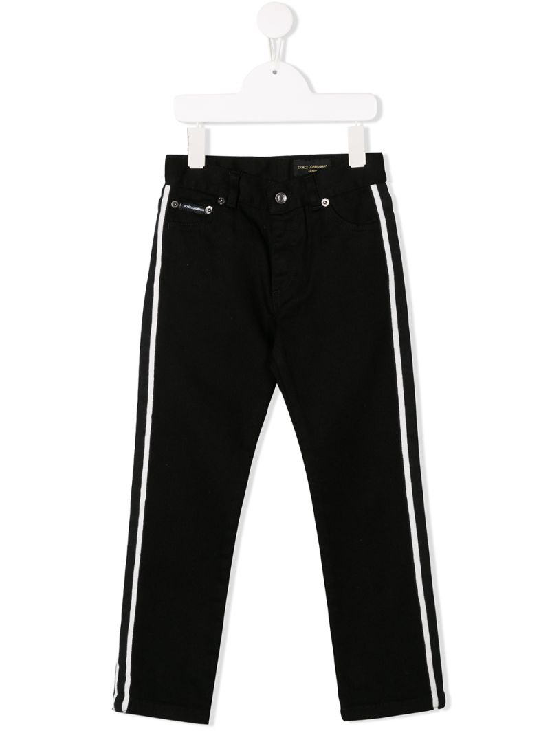 DOLCE & GABBANA CHILDREN: regular-fit jeans with logo embroidery Color Black_1