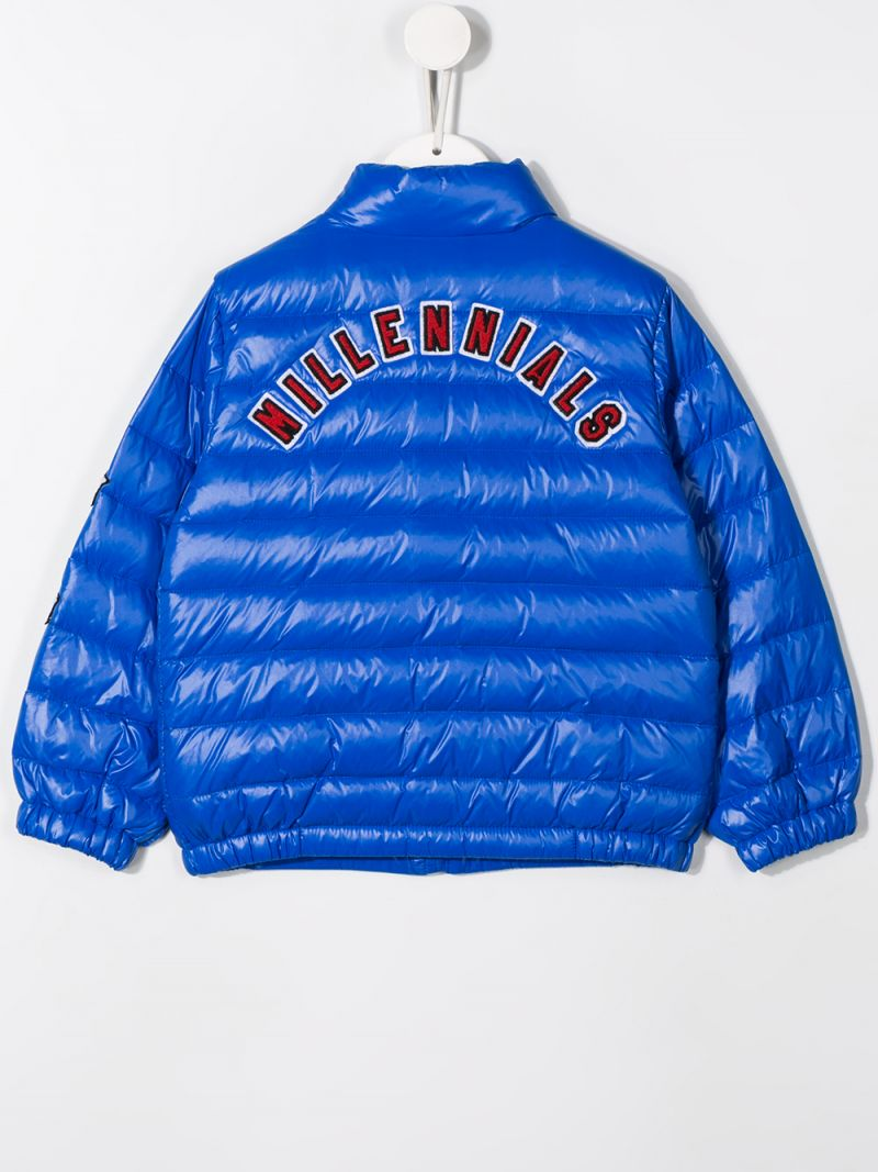 DOLCE & GABBANA CHILDREN: DG patch nylon down jacket Color Blue_2