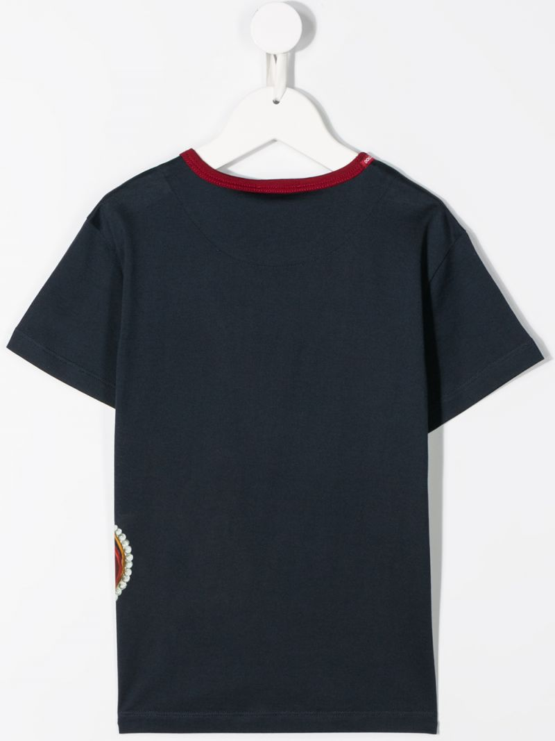 DOLCE & GABBANA CHILDREN: Crown print cotton t-shirt Color Blue_2