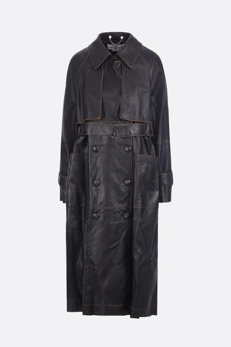 GOLDEN GOOSE DELUXE BRAND: Masami leather double-breasted trench coat Color Black_1