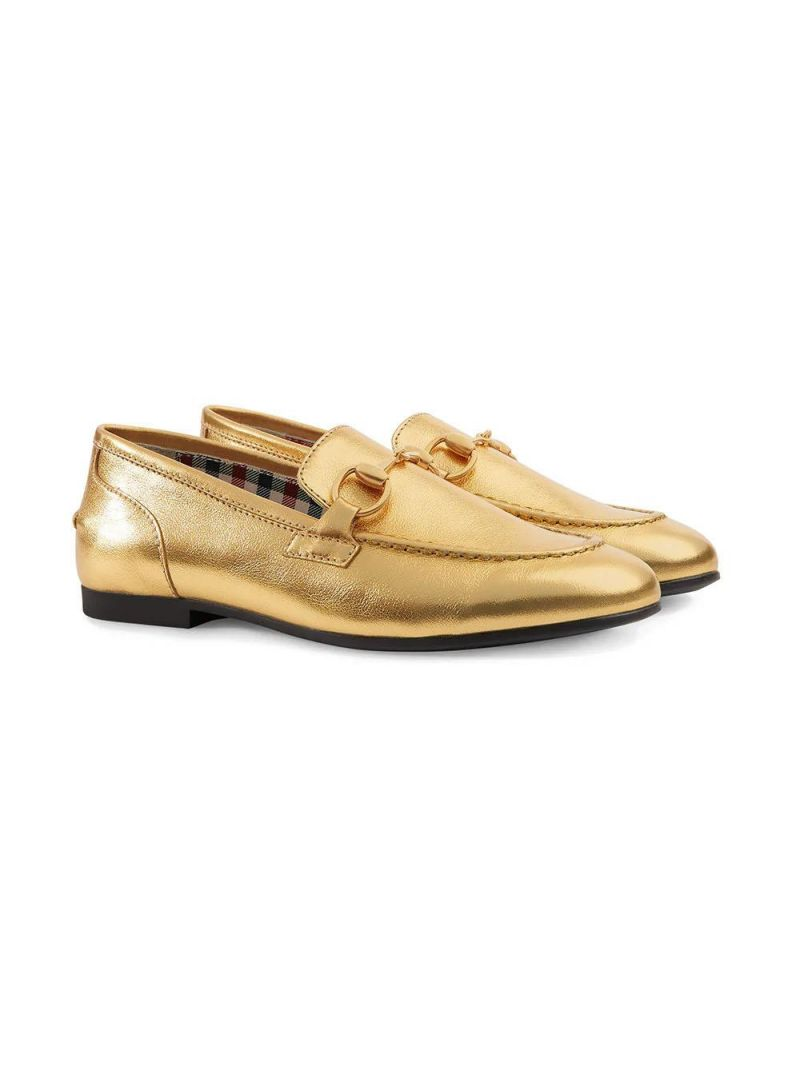 GUCCI CHILDREN: Jordaan leather loafers Color Gold_1