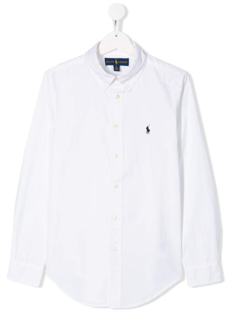 RALPH LAUREN KIDS: Pony embroidered cotton shirt Color White_1