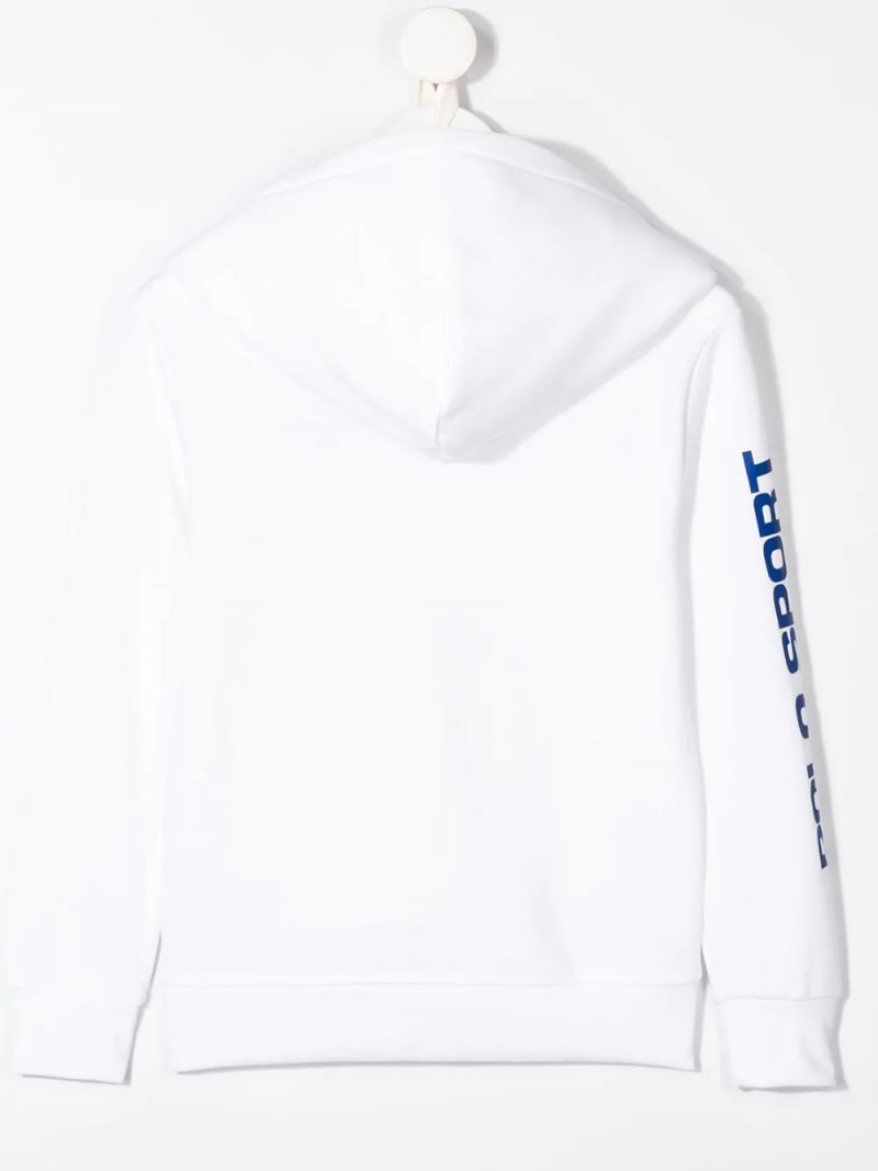 RALPH LAUREN KIDS: Polo Sport cotton blend hoodie Color White_2