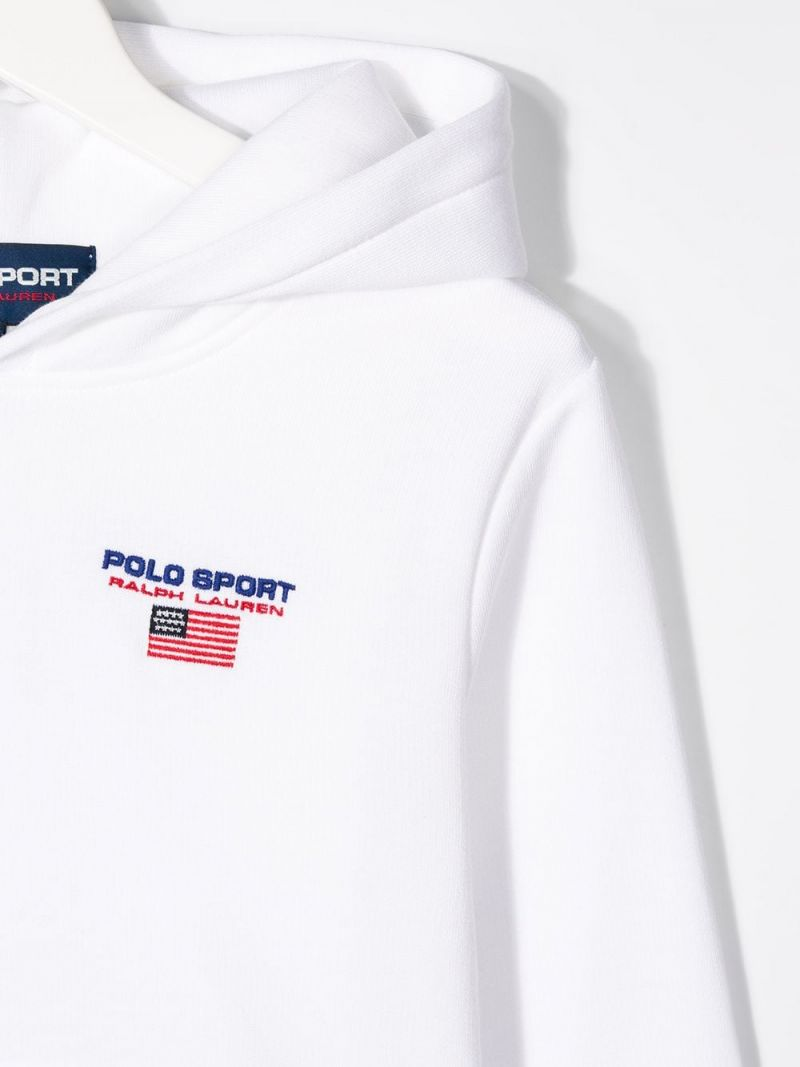 RALPH LAUREN KIDS: Polo Sport cotton blend hoodie Color White_3