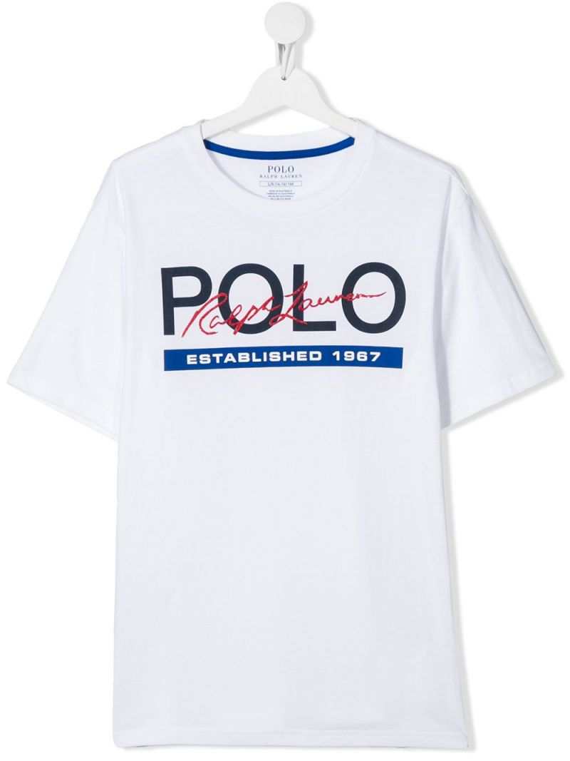 RALPH LAUREN KIDS: Polo print cotton t-shirt Color White_1