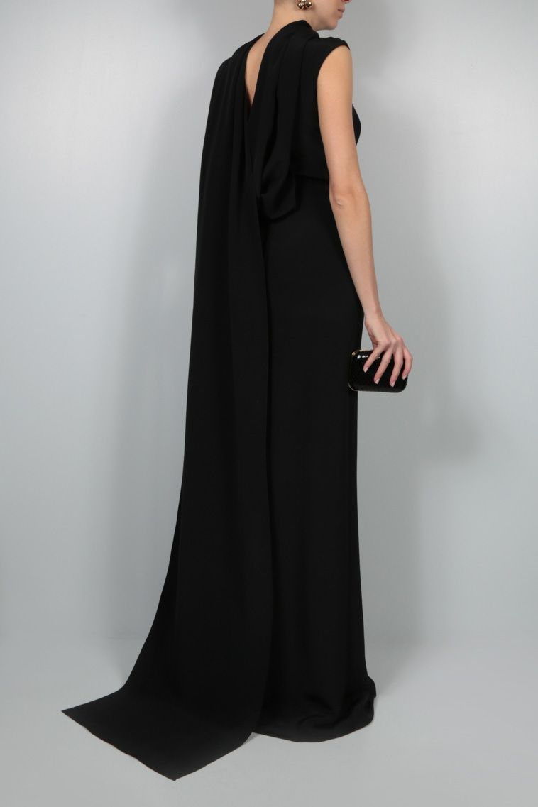 L' WREN SCOTT: scarf-detailed cady evening dress Color Black_2
