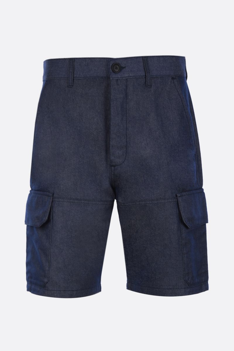 Eye/LOEWE/Nature: Eye/Loewe/Nature embroidered denim cargo shorts Color Blue_1