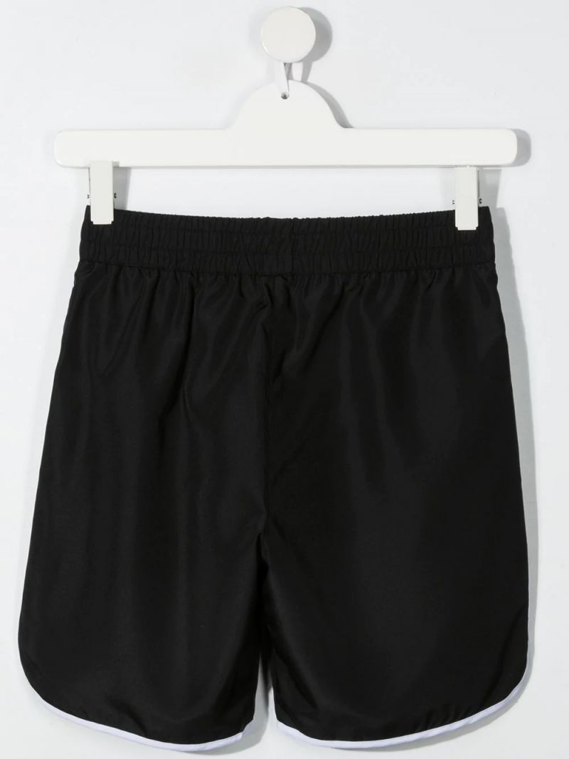 GIVENCHY KIDS: logo-detailed nylon swim shorts Color Black_2