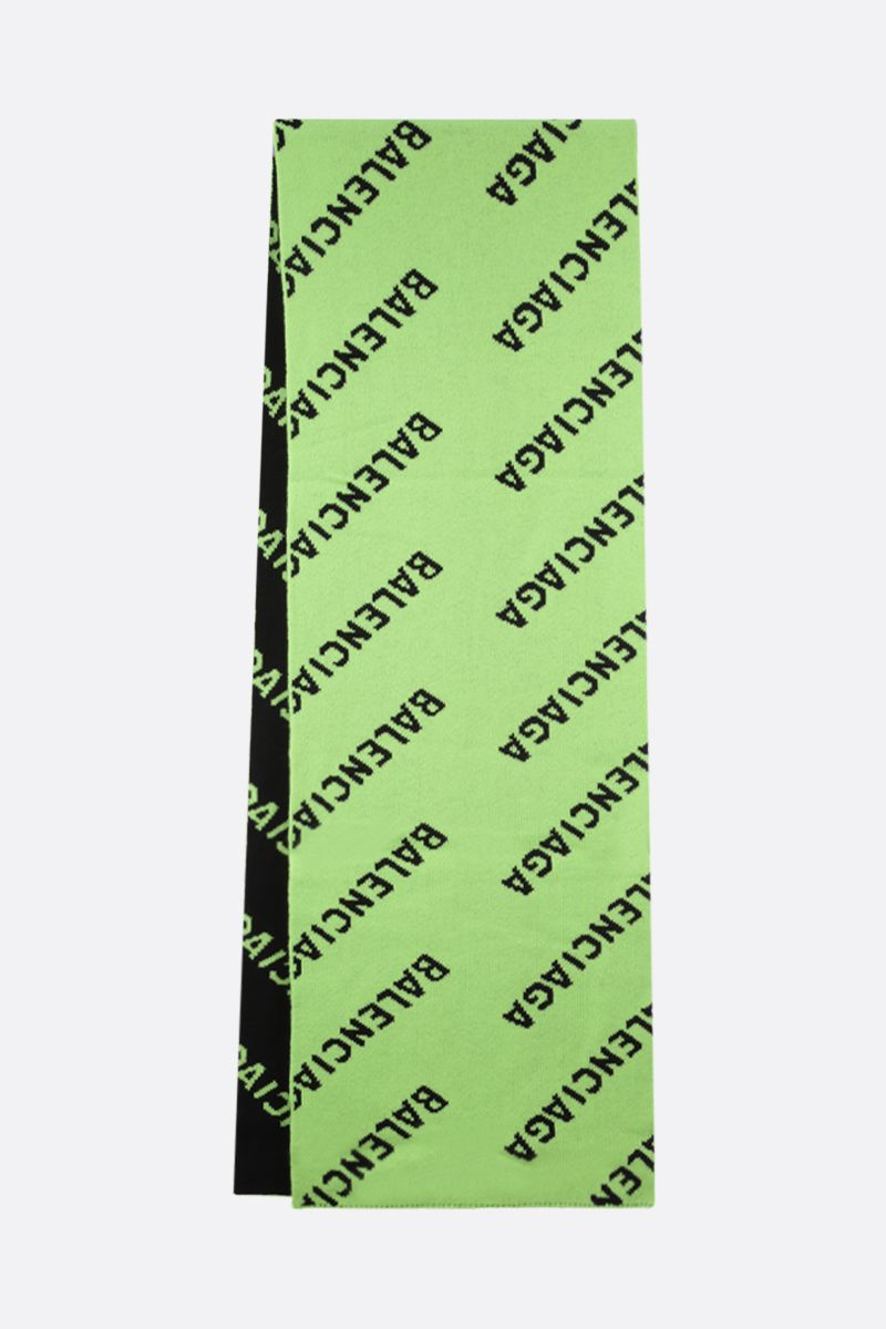 BALENCIAGA: jacquard logo wool scarf Color Green_2