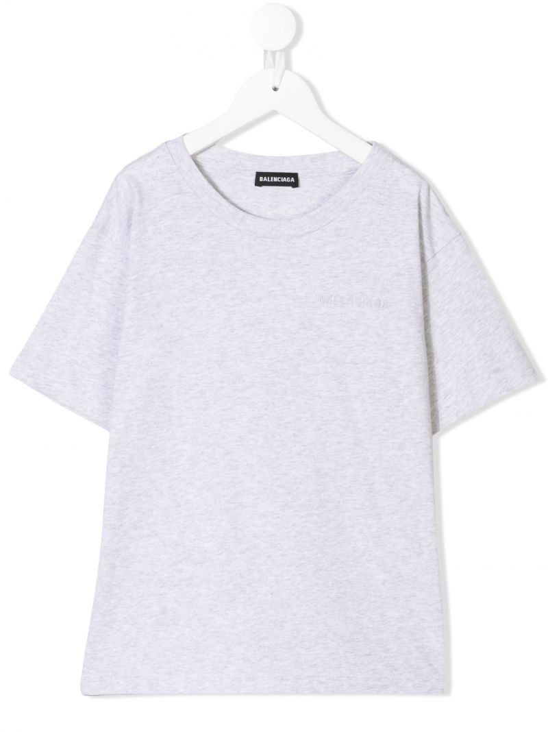 BALENCIAGA KIDS: logo embroidered cotton t-shirt Color Grey_1