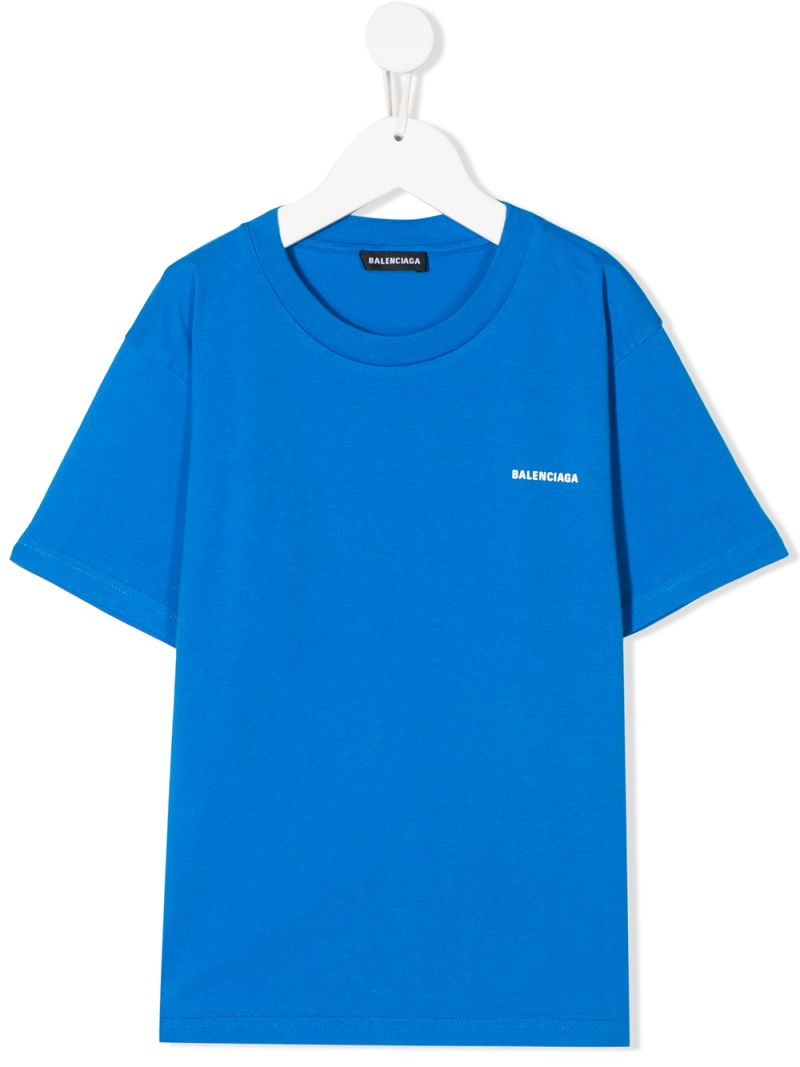 BALENCIAGA KIDS: logo print cotton t-shirt Color Blue_1