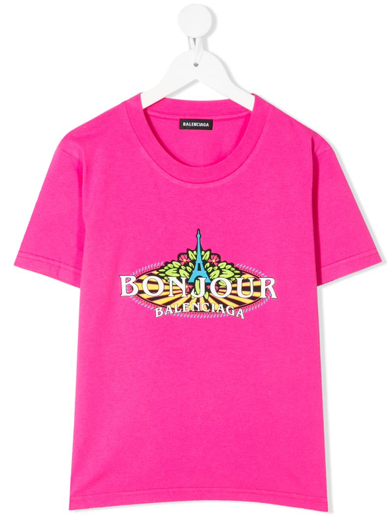 BALENCIAGA KIDS: Bonjour Balenciaga cotton t-shirt Color Pink_1