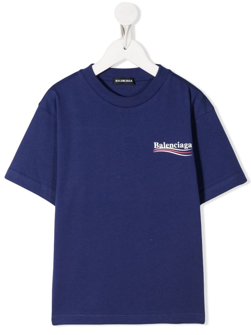 BALENCIAGA KIDS: Balenciaga print cotton t-shirt Color Blue_1