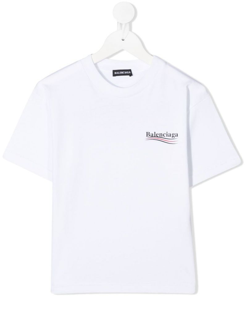BALENCIAGA KIDS: Balenciaga print cotton t-shirt Color Black_1