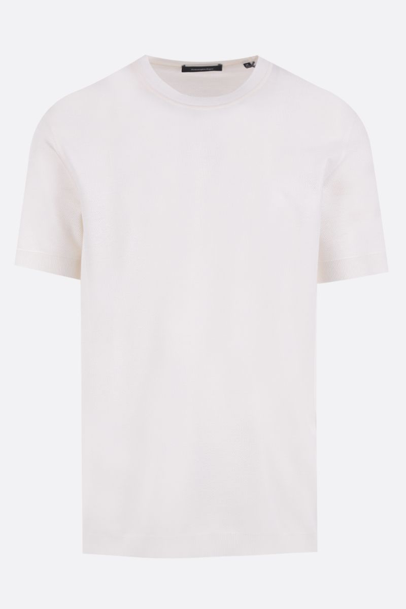 ERMENEGILDO ZEGNA: silk cotton blend t-shirt Color White_1