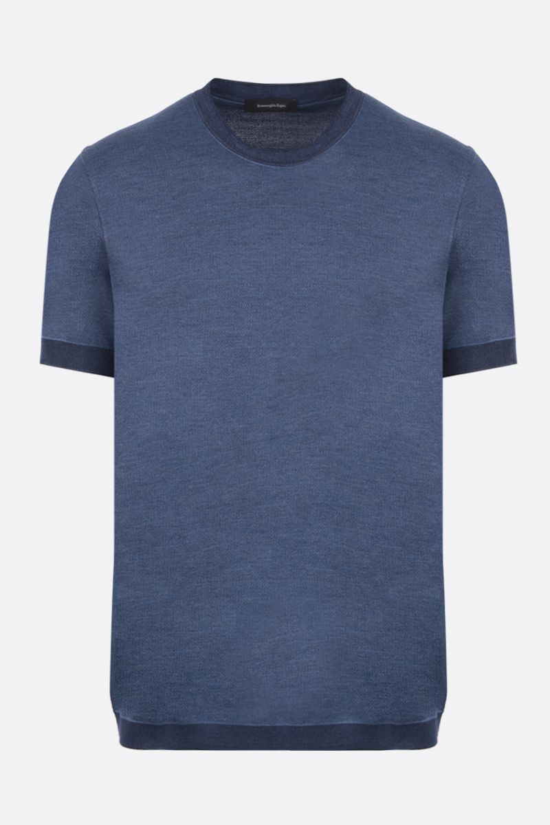 ERMENEGILDO ZEGNA: silk cotton blend t-shirt Color Blue_1