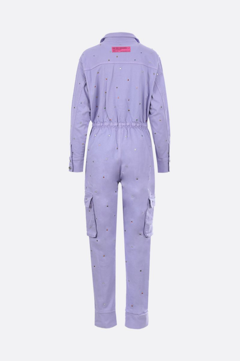 IRENEISGOOD: crystal-embellished denim jumpsuit Color Purple_2