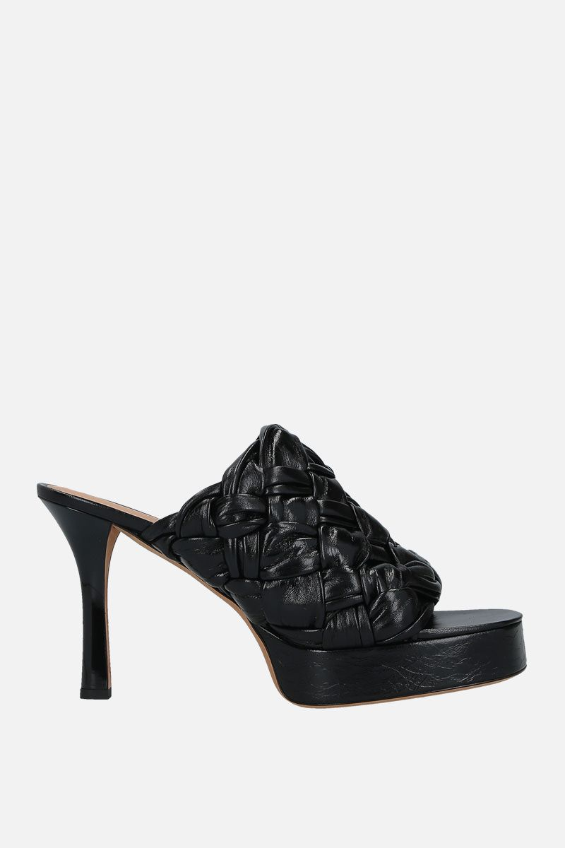 BOTTEGA VENETA: BV Board mule sandals in Intrecciato shiny nappa Color Black_1