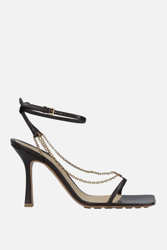 BOTTEGA VENETA: chain-detailed soft nappa sandals Color Brown_1