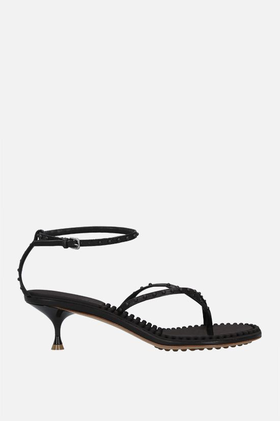 BOTTEGA VENETA: Dot stud-embellished nappa thong sandals Color Brown_1