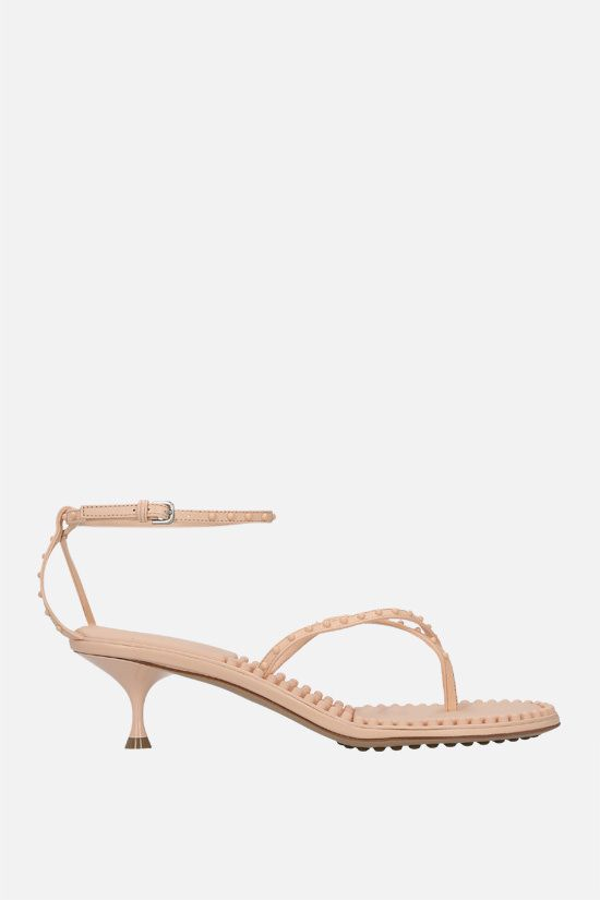 BOTTEGA VENETA: Dot stud-embellished nappa thong sandals Color Neutral_1