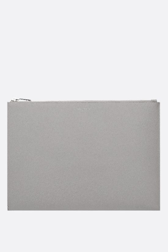 SAINT LAURENT: porta tablet in pelle Grain de Poudre Colore Grigio_1