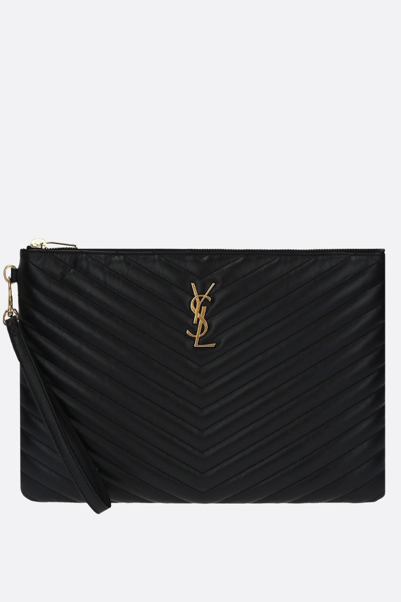 SAINT LAURENT: porta tablet Monogram in pelle matelassè Colore Nero_1