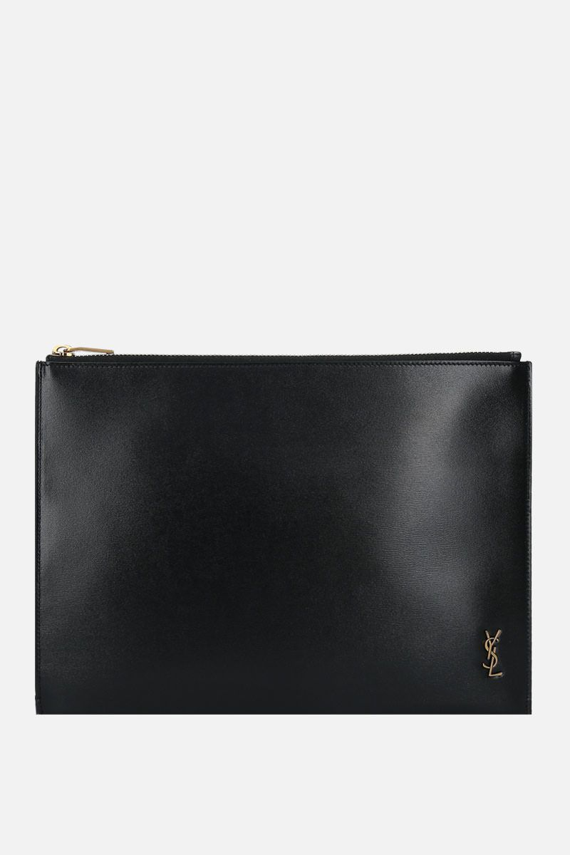 SAINT LAURENT: Monogram shiny leather tablet holder Color Black_1