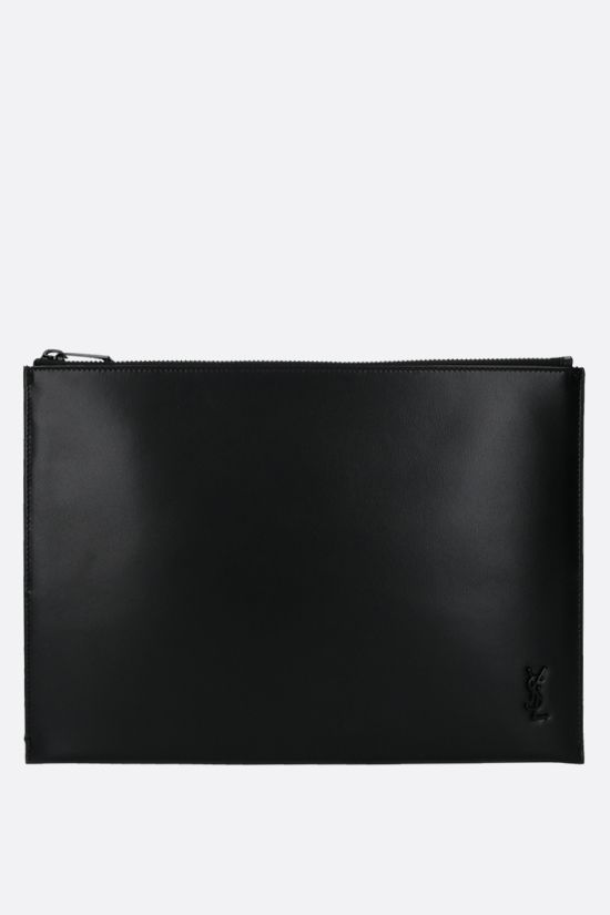 SAINT LAURENT: porta tablet Monogram in pelle lucida Colore Nero_1